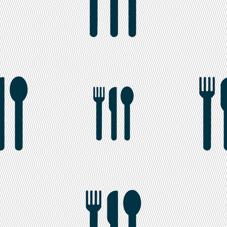 fork knife spoon: fork, knife, spoon icon sign. Seamless pattern with geometric texture. illustration Stock Photo