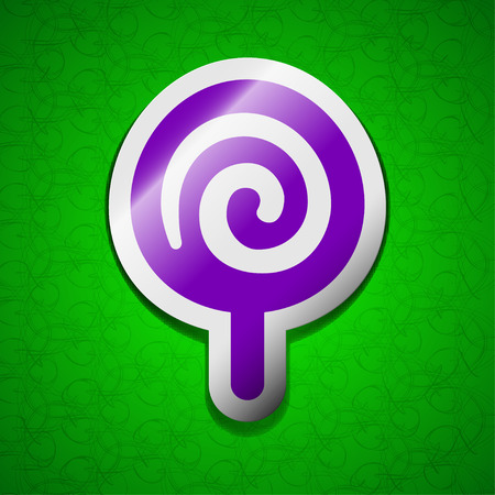 sugary: candy icon sign. Symbol chic colored sticky label on green background. illustration Stock Photo