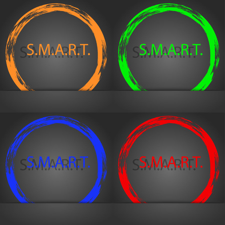 press button: Smart sign icon. Press button. Fashionable modern style. In the orange, green, blue, red design. illustration