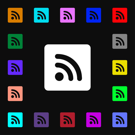 rss feed icon: RSS feed icon sign. Lots of colorful symbols for your design. illustration Stock Photo