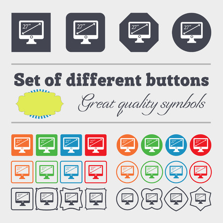 inches: diagonal of the monitor 27 inches icon sign. Big set of colorful, diverse, high-quality buttons. illustration