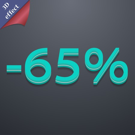 65: 65 percent discount icon symbol. 3D style. Trendy, modern design with space for your text illustration. Rastrized copy Stock Photo