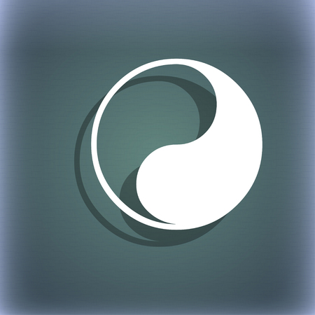 daoism: Yin Yang icon symbol on the blue-green abstract background with shadow and space for your text. illustration Stock Photo