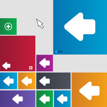 way out: Arrow left, Way out icon sign. buttons. Modern interface website buttons with cursor pointer. illustration