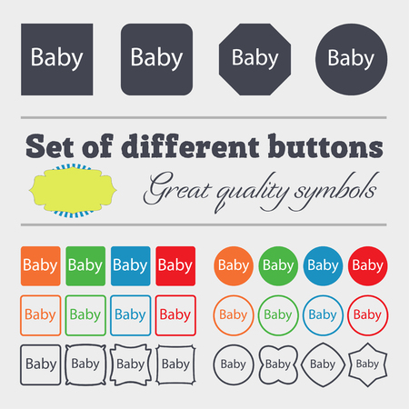 baby on board: Baby on board sign icon. Infant in car caution symbol. Baby pacifier nipple. Big set of colorful, diverse, high-quality buttons. illustration Stock Photo