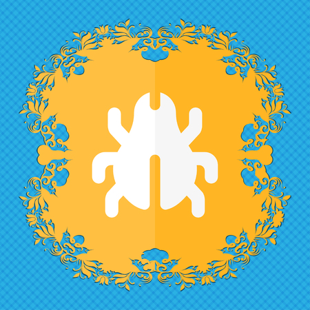 disinfection: Software Bug, Virus, Disinfection, beetle . Floral flat design on a blue abstract background with place for your text. illustration Stock Photo