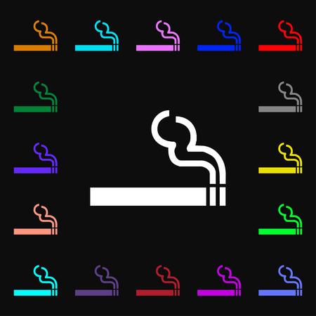 pernicious habit: cigarette smoke icon sign. Lots of colorful symbols for your design. illustration