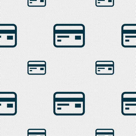 cashless: Credit, debit card icon sign. Seamless pattern with geometric texture. illustration