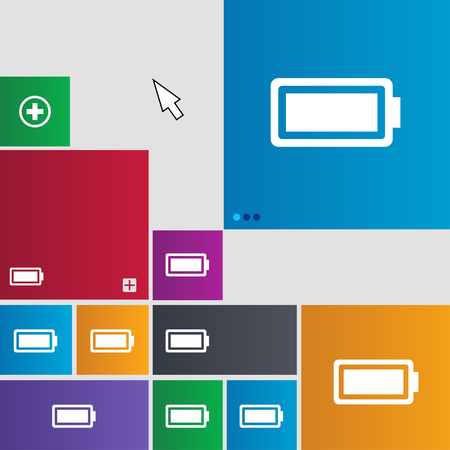 fully: Battery fully charged icon sign. Metro style buttons. Modern interface website buttons with cursor pointer. illustration Stock Photo