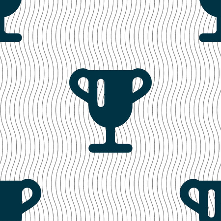 awarding: Winner cup, Awarding of winners, Trophy icon sign. Seamless pattern with geometric texture. illustration
