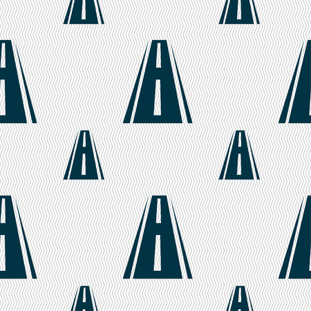 avenue: Road icon sign. Seamless pattern with geometric texture. illustration Stock Photo