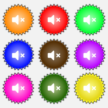 tech no: Mute speaker , Sound icon sign. A set of nine different colored labels. illustration Stock Photo