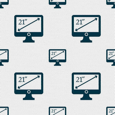 inches: diagonal of the monitor 21 inches icon sign. Seamless abstract background with geometric shapes. illustration
