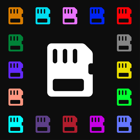 memory card: compact memory card icon sign. Lots of colorful symbols for your design. illustration