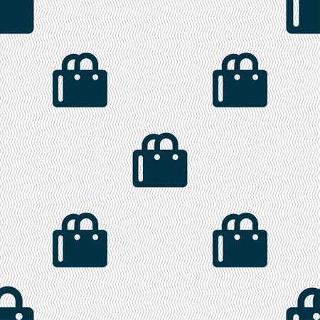 shopping bag icon: shopping bag icon sign. Seamless pattern with geometric texture. illustration Stock Photo