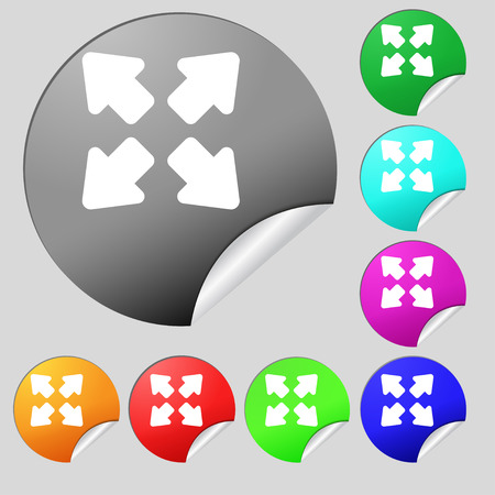 wider: Deploying video, screen size icon sign. Set of eight multi-colored round buttons, stickers. illustration
