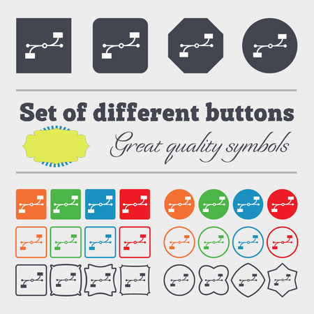 bezier: Bezier Curve icon sign. Big set of colorful, diverse, high-quality buttons. illustration