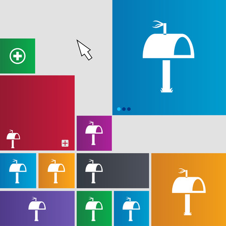 media distribution: Mailbox icon sign. Metro style buttons. Modern interface website buttons with cursor pointer. illustration