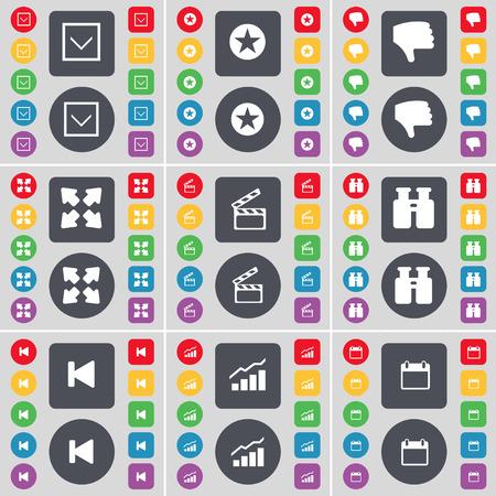 full screen: Arrow down, Star, Dislike, Full screen, Clapper, Binoculars, Media skip, Diagram, Calendar icon symbol. A large set of flat, colored buttons for your design. illustration