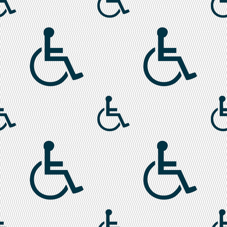 paralyze: disabled icon sign. Seamless pattern with geometric texture. illustration
