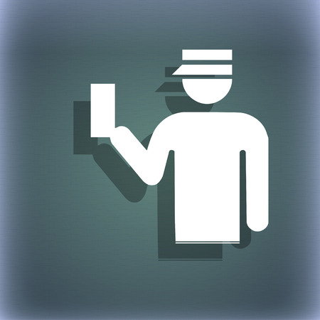 inspector: Inspector icon symbol on the blue-green abstract background with shadow and space for your text. illustration