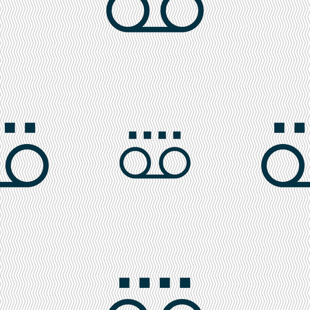 casette: audio cassette icon sign. Seamless pattern with geometric texture. illustration