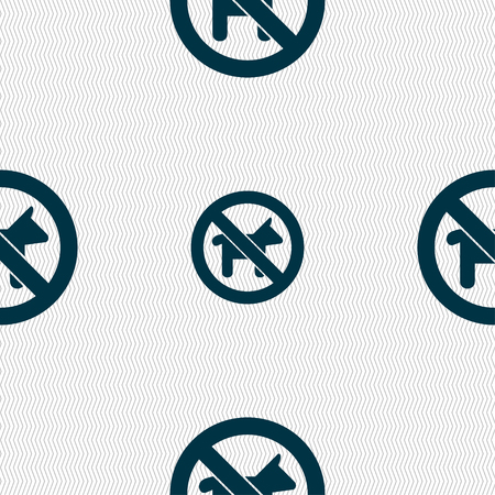 chromium: dog walking is prohibited icon sign. Seamless pattern with geometric texture. illustration