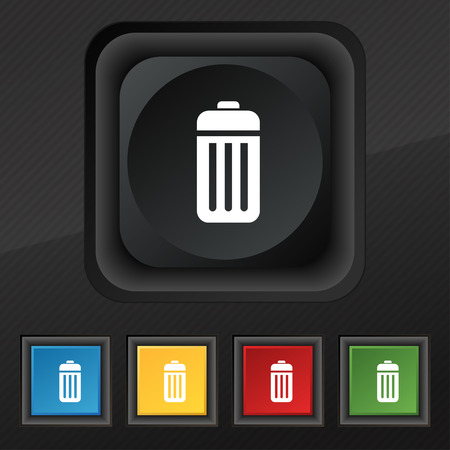 local supply: The trash icon symbol. Set of five colorful, stylish buttons on black texture for your design. illustration