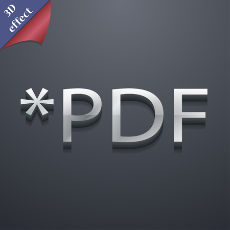 file extension: PDF file extension icon symbol. 3D style. Trendy, modern design with space for your text illustration. Rastrized copy Stock Photo