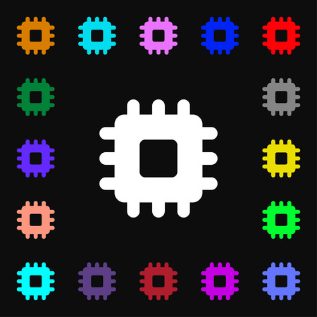 electronic components: Central Processing Unit icon sign. Lots of colorful symbols for your design. illustration Stock Photo