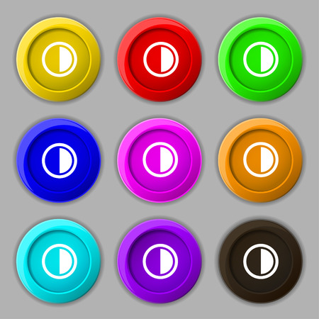 contrast: contrast icon sign. symbol on nine round colourful buttons. illustration