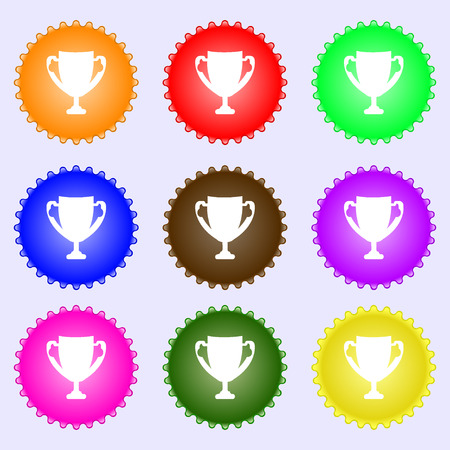 awarding: Winner cup sign icon. Awarding of winners symbol. Trophy. A set of nine different colored labels. illustration