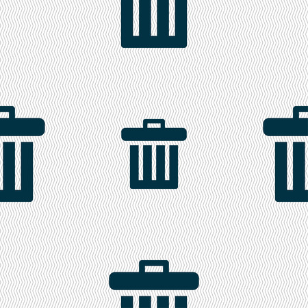 garbage tank: Recycle bin icon sign. Seamless pattern with geometric texture. illustration Stock Photo