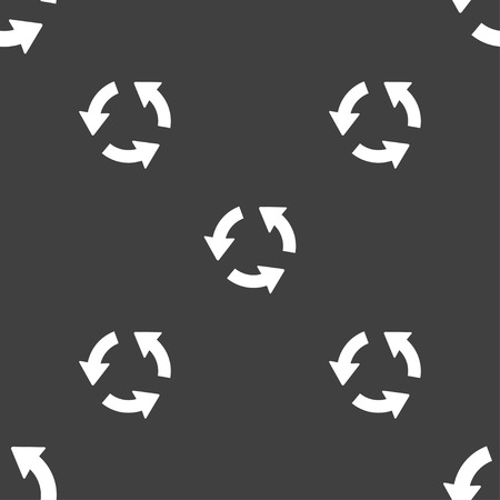 refresh icon: Refresh icon sign. Seamless pattern on a gray background. illustration