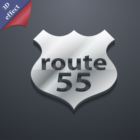 highway icon: Route 55 highway icon symbol. 3D style. Trendy, modern design with space for your text illustration. Rastrized copy