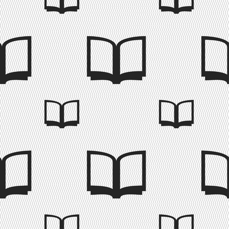 reading app: Open book icon sign. Seamless pattern with geometric texture. illustration
