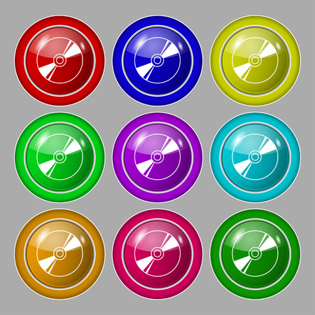rewritable: Cd, DVD, compact disk, blue ray icon sign. symbol on nine round colourful buttons. illustration Stock Photo