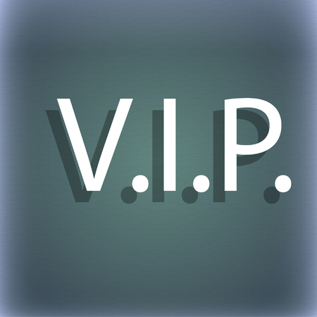 very important person sign: Vip sign icon. Membership symbol. Very important person. On the blue-green abstract background with shadow and space for your text. illustration