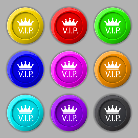 very important person: Vip sign icon. Membership symbol. Very important person. Set of colored buttons. illustration