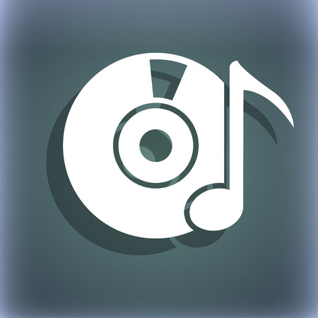 cd player: cd player icon sign. On the blue-green abstract background with shadow and space for your text. illustration