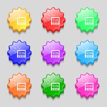 digital clock: digital Alarm Clock icon sign. Symbols on nine wavy colourful buttons. illustration Stock Photo