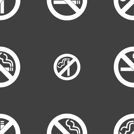 pernicious habit: no smoking icon sign. Seamless pattern on a gray background. illustration Stock Photo