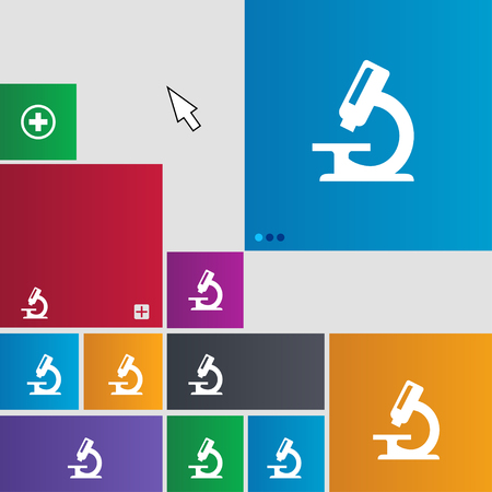equipment experiment: microscope icon sign. Metro style buttons. Modern interface website buttons with cursor pointer. illustration