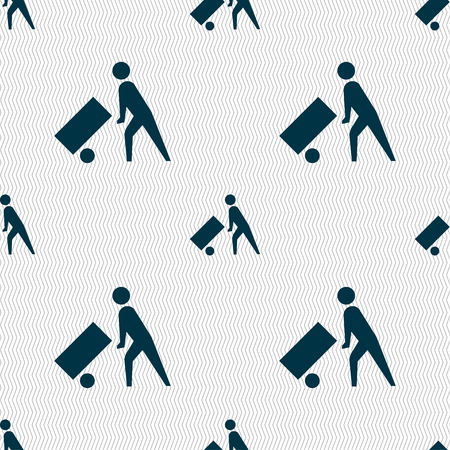 loader: Loader icon sign. Seamless pattern with geometric texture. illustration