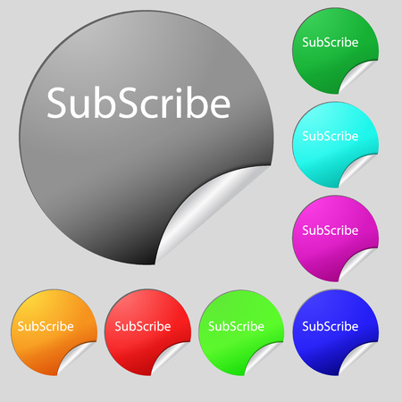 subscribing: Subscribe sign icon. Membership symbol. Website navigation. Set of eight multi colored round buttons, stickers. illustration