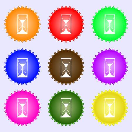sand timer: Hourglass sign icon. Sand timer symbol. A set of nine different colored labels. illustration