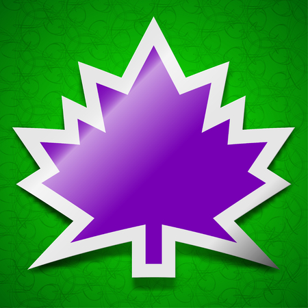 maple leaf icon: Maple leaf icon sign. Symbol chic colored sticky label on green background. illustration