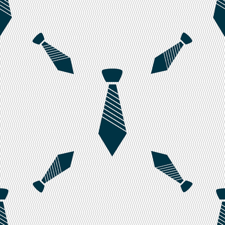 official wear: Tie sign icon. Business clothes symbol. Seamless pattern with geometric texture. illustration