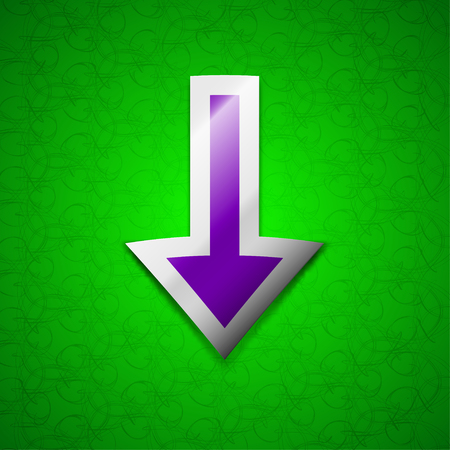 down load: Arrow down, Download, Load, Backup icon sign. Symbol chic colored sticky label on green background. illustration