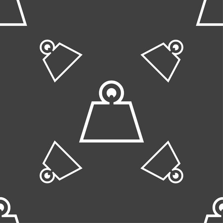 cast iron: Weight icon sign. Seamless pattern on a gray background. illustration